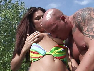 Bang a milf Two hungry brunettes bang a hot stud by the pool