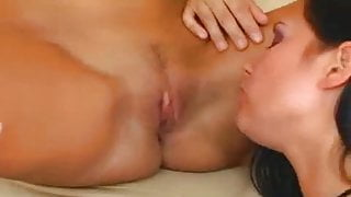 Brunette beauty lesbians licking pussy and nipples