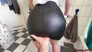 CUM ON HER LEATHER SKIRT