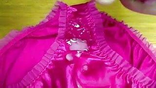 cum on pink silky panties, knickers, thong underwear