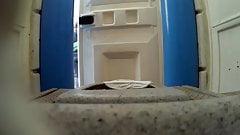 voyeur inside the dixitoilet, hidden camera, spycam