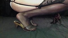 Crossdresser in brown mules with Stockings