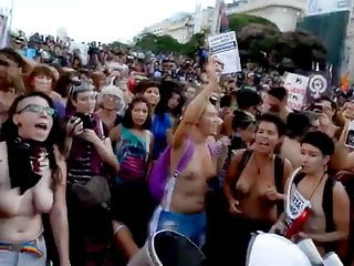 Protest naked Argentinian women protesting topless