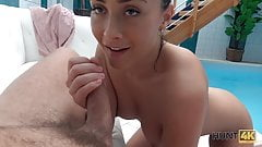 HUNT4K. Cheap slut does her best to stay at spa with her bf