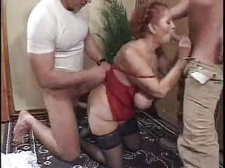 Granny does anal Horny chubby granny does two guys