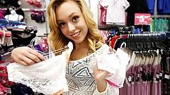 Petite joven rubia adolescente follada después de bragas de compras pov