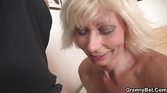 Guy doggy fucks a hot 60 years old blonde mom