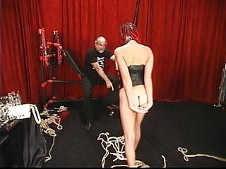 Red haired mature women Slut with long braided hair get her tush beaten red by old master
