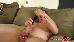 Older Hunk is stroking his dick while enjoying ass play