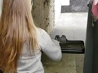 Girl shooting gun shake boobs Chick with nice dumper shooting gun