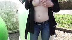 Public Pissing. A student Shows Her Breasts right on the street