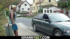 Guy picks up old blonde granny for doggy-fuck