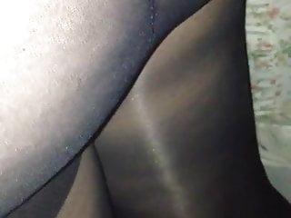 Shiny black ass oil Gf in shiny black pantyhose.... sexy