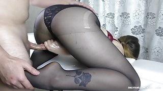 Amateur Teen With Big Ass Gives Handjob - Cum on Feet in Pantyhose