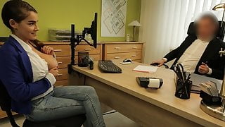 VIP4K. Unemployed young babe comes to loan agency and gets