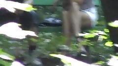 Voyeur 20 in the woods, no panties, only 4 Voyeurs  (MrNo)