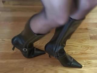 My cock is hard Mature lady in black pantyhosed feet makes my cock rock hard