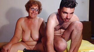 Mature woman having fun with a guy on webcam