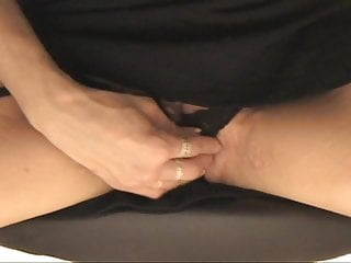 Tooth brush dildo Gap-toothed blonde in tights uses dildo for pleasure