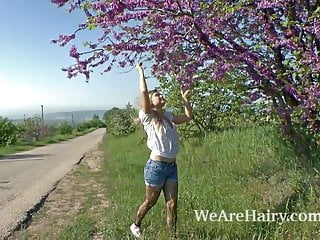 Hairy woman bondage - Hairy woman riana s enjoys her walk outside