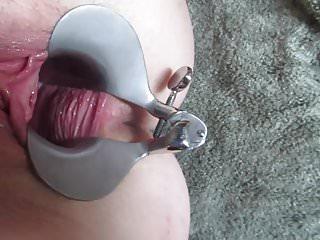 Mature opening of vagina Speculum open vagina stretched