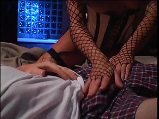 Pussy crammed by cock Hottie in nylons crams her pussy with big cock