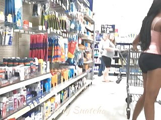 Short scar breast reduction Big breasted braless black beauty in black shorts