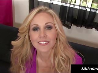 Kneel and suck cock ho Busty blonde milf julia ann kneels pov to suck your cock