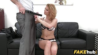 Fake Agent Model gives new boss control of her vibrator