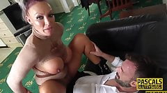 Tattooed submissive MILF with big boobs