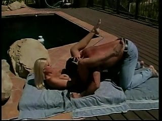 Can my vagina rip Hot blonde spreads her legs so ripped dude can eat her pussy in the sunshine