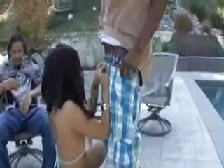 Interracial backyard Latina slut vanessa leon caught cheating in backyard