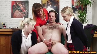 Cock hungry schoolgirls enjoying cfnm fetish