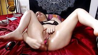 Closeup of big pussy lips Milf fucking herself
