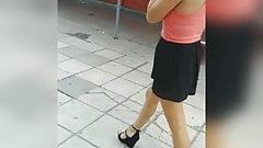 Slutty hungarian girl smoking at walking