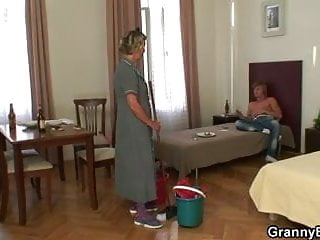 Horny old lady fucking Cleaning lady takes his horny cock from behind