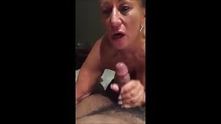 Hot breasted granny sucking bbc and getting cum on her mouth