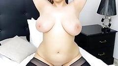 Horny brunette riding dildo