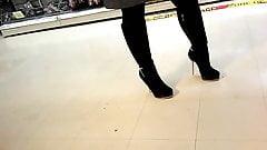 Black Boots Well Worn Candid nailheels