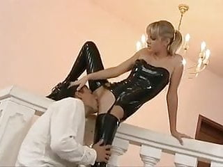 Skinny ankles asian - Slim blonde, ankle boots and latex stockings gets fucked
