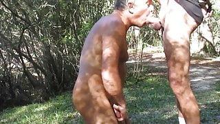 Daddy sucking grandpa's cock outdoors