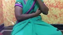 Green saree kirthika aunty with husband friend