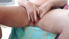 Horny BBW granny masturbating