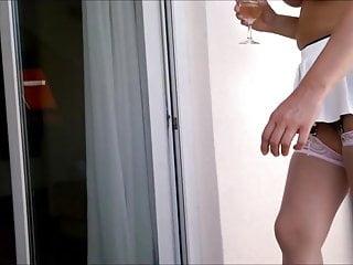 Sexy spandex mini dress racewear Lady mona.walking on white - stockings mini dress high heels