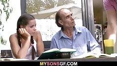 He leaves and dad bones his pigtailed girlfriend