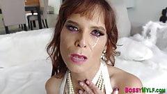 Cougar sucks and rides cock for facial