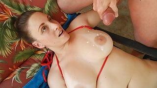 Melanie Hicks gets titty cumshot from lucky neighbor