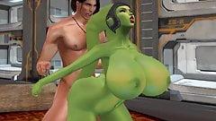 Busty green Twi'lek loving it from behind