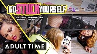 Babe Caught Her MILF Teacher Stuck Under the Desk