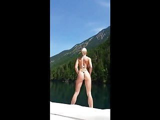 Mountain and naked men Hot blonde on vacation in the mountains sucks on boat